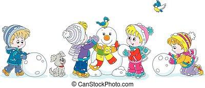 bonhomme de neige, petit, rigolote, confection, enfants