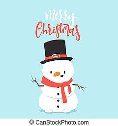 bonhomme de neige, peu, boy., caractère, baston, boule de neige, dessin animé, jouer