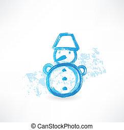 bonhomme de neige, peu, grunge, icône