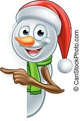 bonhomme de neige, pointage, dessin animé, santa chapeau, noël