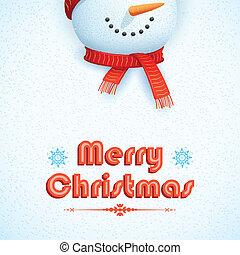 bonhomme de neige, porter, carte, noël, écharpe