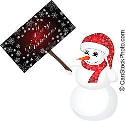 bonhomme de neige, porter, chapeau, santa