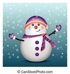 bonhomme de neige, porter, gants, chapeau
