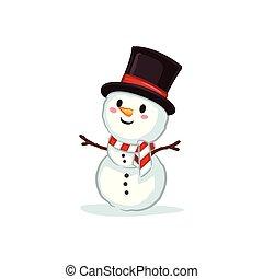 bonhomme de neige, porter, sommet, vectors, -, chapeau, noël
