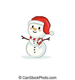 bonhomme de neige, porter, vectors, -, santa chapeau, noël