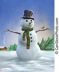 bonhomme de neige, rouge-gorge
