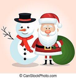 bonhomme de neige, santa, cadeau, claus, isolé, sac, vert, joyeux noël