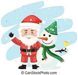 bonhomme de neige, scène, santa