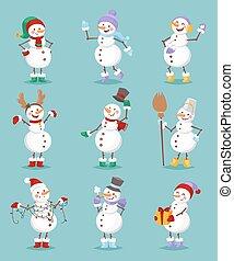 bonhomme de neige, set., vecteur, dessin animé