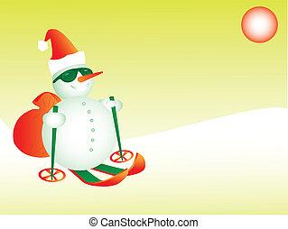 bonhomme de neige, ski, santa, eps8