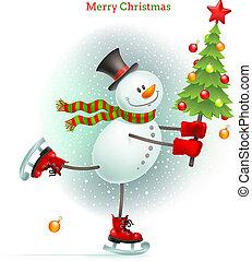 bonhomme de neige, sourire, arbre, noël