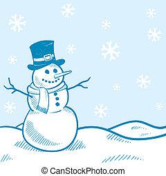bonhomme de neige, vacances, fond