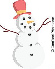 bonhomme de neige, vecteur, caractère