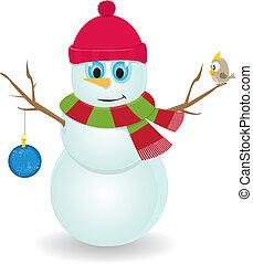 bonhomme de neige, vecteur, dessin animé
