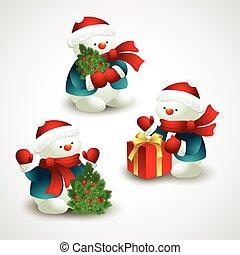 bonhomme de neige, vecteur, noël, illustration