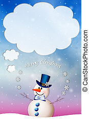 bonhomme de neige, vous, voeux, noël, joyeux