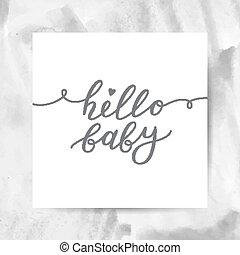 bonjour, lettrage, bébé