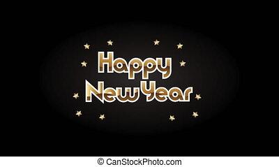bonne année, étoiles, lettrage, doré
