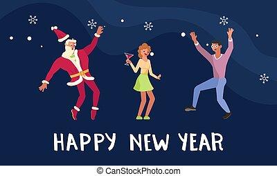 bonne année, bannière, fête