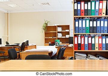bookcases., moderne, chaises bureau, personne, intérieur, tables