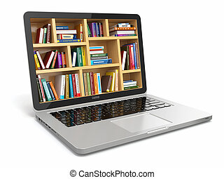 books., library., ou, internet, e-apprendre, education, ordinateur portable