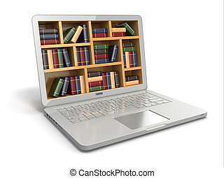 books., library., ou, internet, e-apprendre, education, ordinateur portable