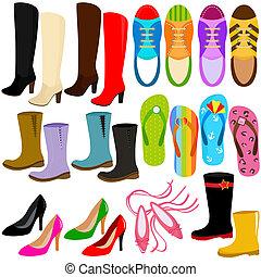 (boots, élevé, sneakers), chaussures, talons