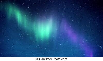 boréal, nord, arctique, clair, aurore, temps, nive, stars., 3d, lumières, ciel, render