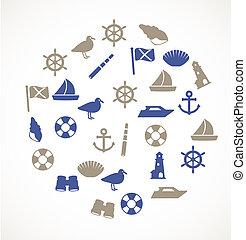 bord mer, icônes