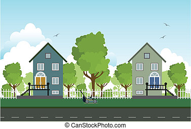 bord route, houses.