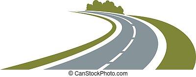 bord route, route, enroulement, vert