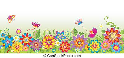 border), fleurs, (seamless