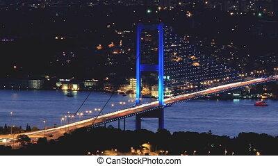 bosporus, nuit, istanbul, pont