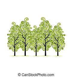 bosquet, conception, vert, ton, arbres