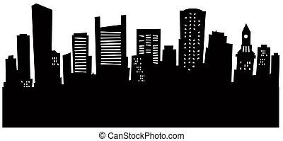 boston, horizon, dessin animé