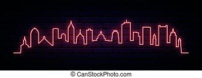 boston, néon, city., rouges, horizon