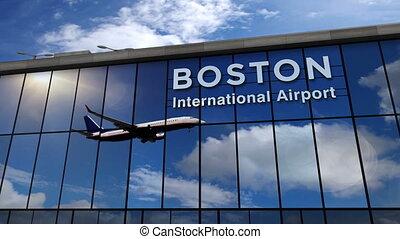 boston, reflété, avion, terminal, atterrissage