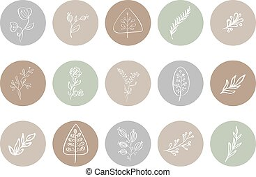 botanique, souligner, logo, floral, photographe, dessiné, natural., gabarit, histoire, blogger, icon., main, herb., logo., studio., couverture, yoga, style, monoline, illustrations, mode
