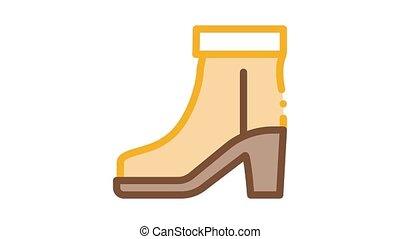 botte, chaussure, icône, animation