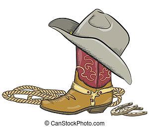 botte cowboy, isolé, occidental, chapeau blanc