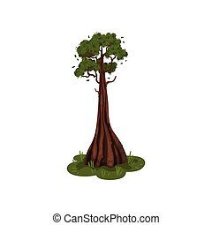 bottom., arbre, illustration, arrière-plan., vecteur, coffre, blanc, épais