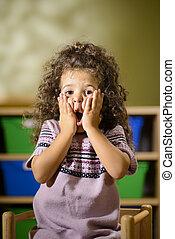 bouche, jardin enfants, enfant, ouvert, inquiété