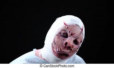 bouche, patient, bandé, visage, figure, défiguré, sewn-in, tête