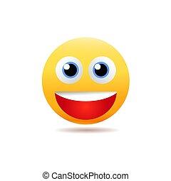 bouche, sourire, ouvert, emoji, illustration., eps