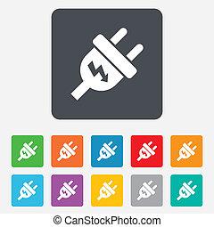 bouchon, pouvoir électrique, énergie, symbole., signe, icon.