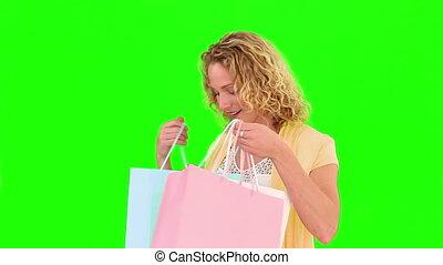 bouclé, blonds, sacs, achats, holind, chevelure, femme