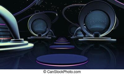 boucle, 10, -, sec, avenir, ville, espace, animation, 3d