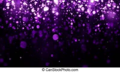 boucle, beau, brillant, vacances, particule, light., design., lumière, particules, arrière-plan violet, bokeh., tomber, magie, scintillement, arrière-plan., seamless