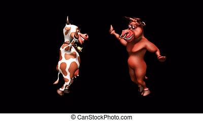 boucle, canal, danse, -, 2, taureau, alpha, 3d, amusement, vache