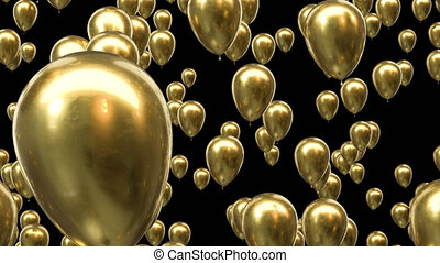 boucle, canal, doré, ballons, alpha, voler